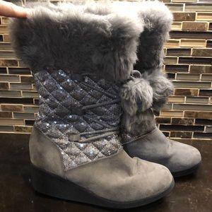 Piper Raquel grey gray sequins furry wedge boots